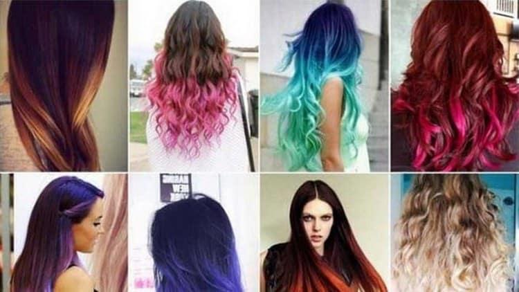 Среди молодежи популярно цветное омбре на темные волосы.