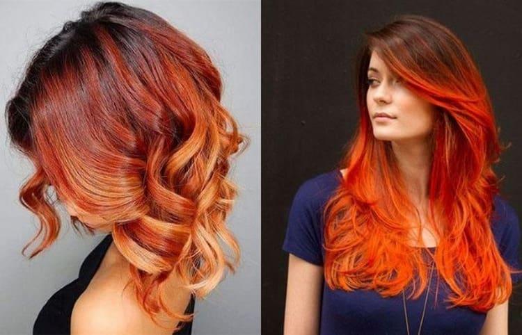 Очень стильно выглядит рыжее омбре на темные волосы.