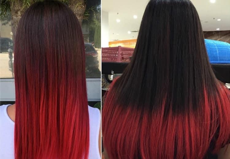 Омбре на темные длинные прямые волосы тоже выглядит эффектно.