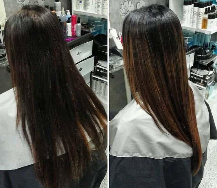 Такой градиент на волосах можно делать и более плавным.