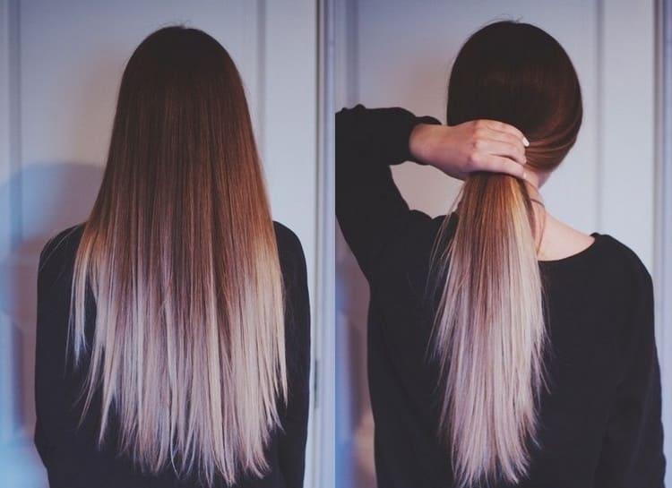 окрашивание омбре на темные длинные волосы остается в тренде.