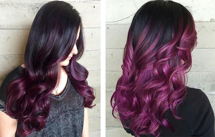 Покраску волос омбре на длинные темные волосы можно делать практически любыми оттенками.