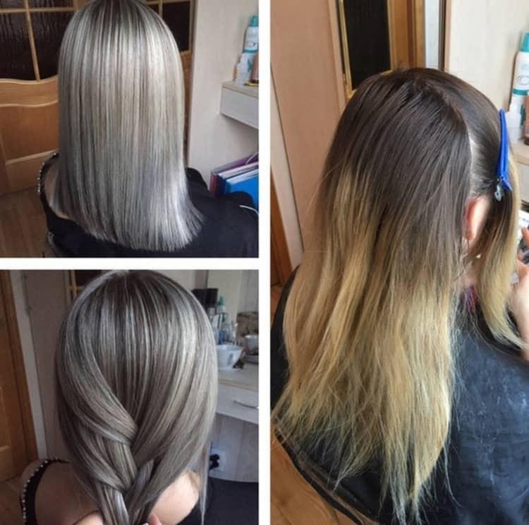 Красивое мелирование на прямых волосах.