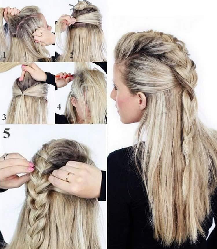 А вот достаточно простой вариант, в котором соединяются коса и распущенные волосы.