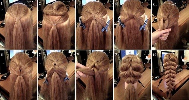 А вот еще один вариант свадебной прически с косами на длинные волосы.
