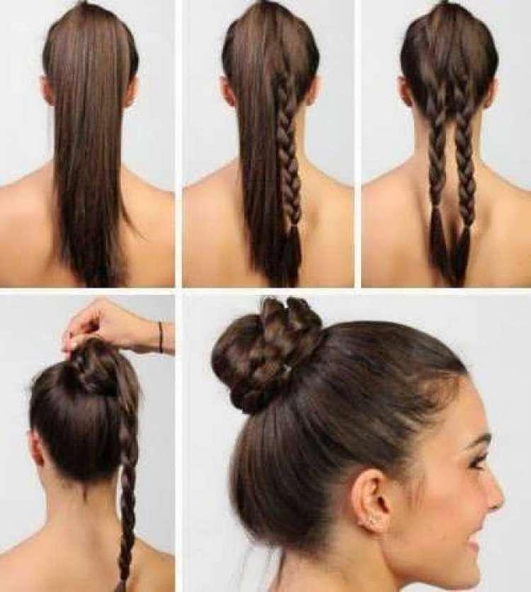 А вот простой вариант прически с двумя косами на длинные волосы.