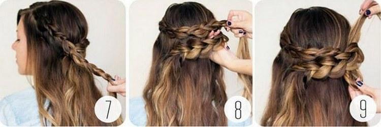 Посмотрите, как пошагово сделать прическу на длинные волосы с косой.