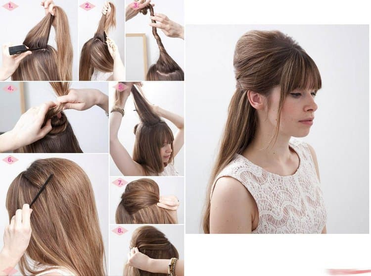 Обратите внимание на этот вариант прически на длинные распущенные волосы с челкой.