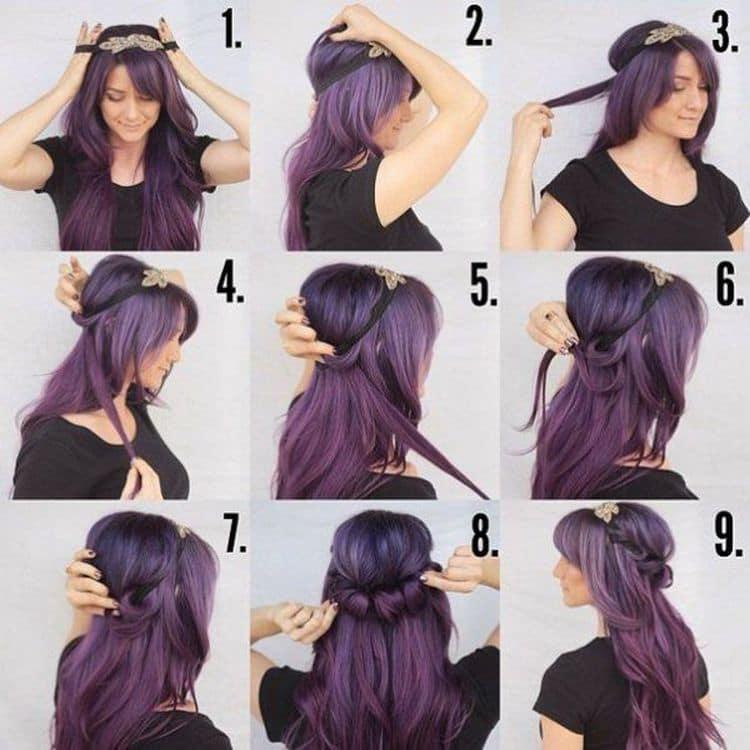 А такие прически на длинные волосы можно делать с прямой и с косой челкой.