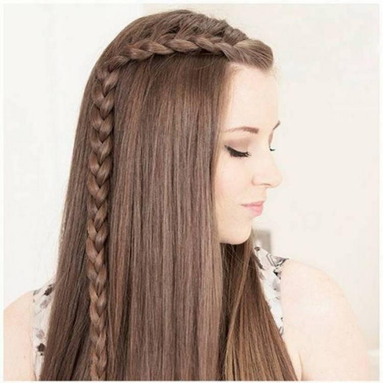 Можно сделать оригинальную прическу локоны на длинные волосы без челки.