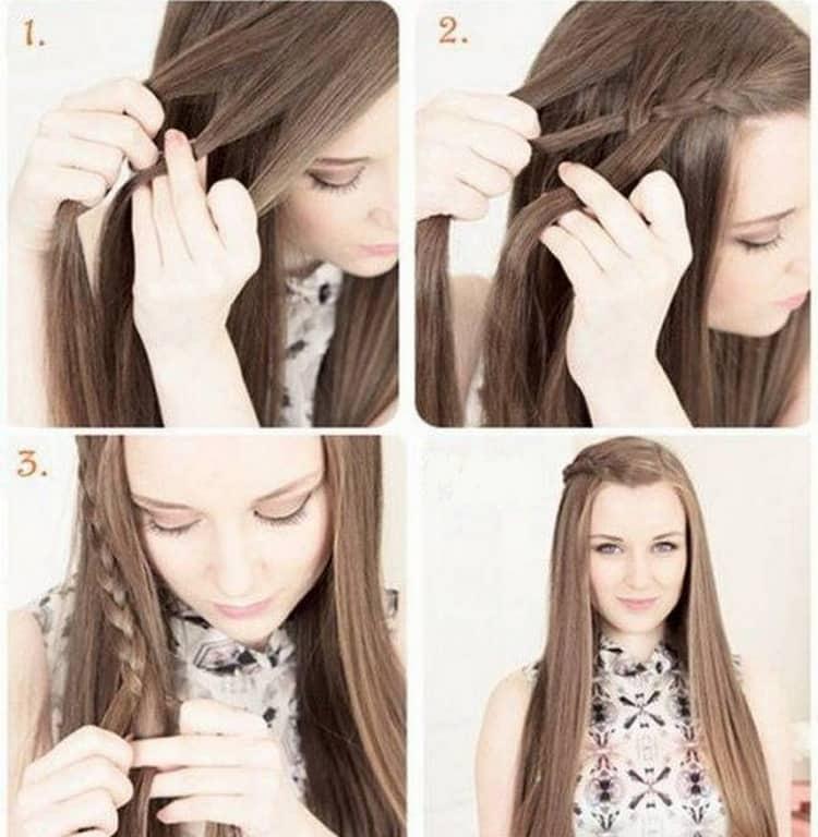 Посмотрите пошаговое фото создания причесок на длинные волосы без челки
