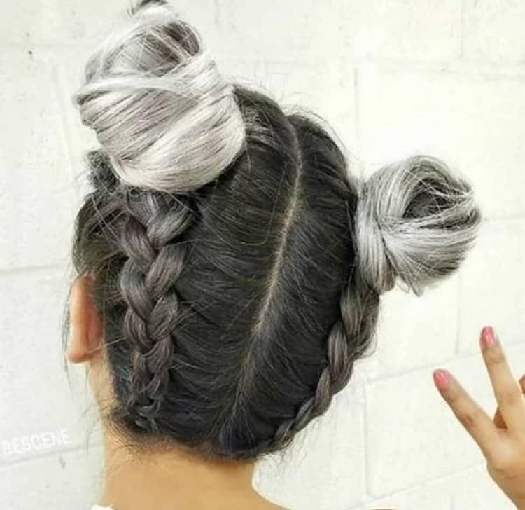 Плетением можно украсить также две гульки на голове.