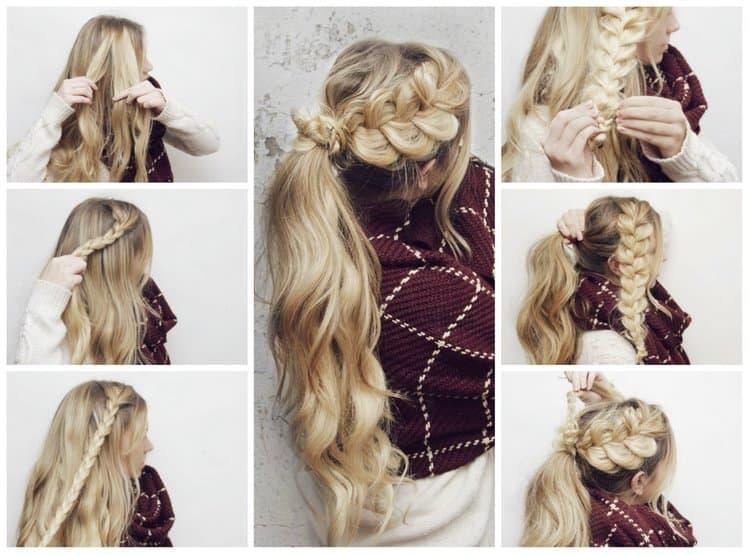 Посмотрите, как пошагово сделать красивые прически в школу на длинные волосы.