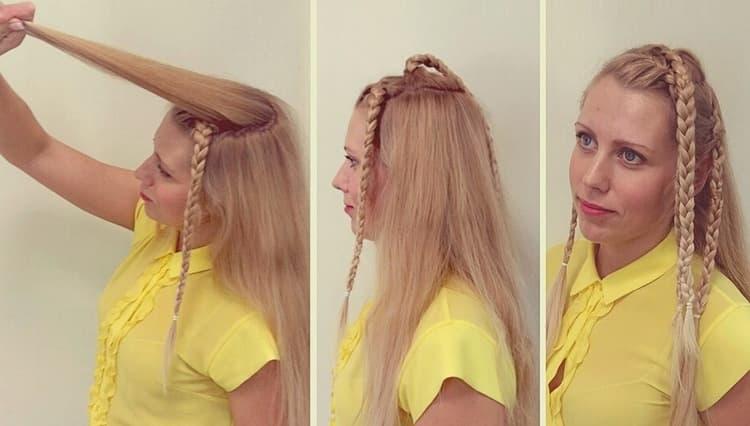 Посмотрите на фото, как сделать такие красивые прически на средние волосы.