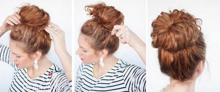 Отличный вариант красивой прически на волосы средней длины.
