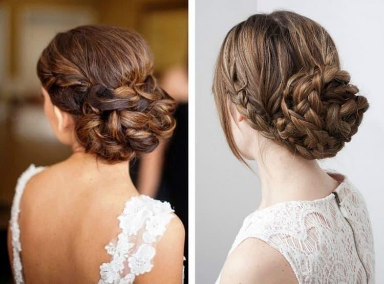 Попробуйте сделать такую праздничную прическу на средние волосы своими руками.