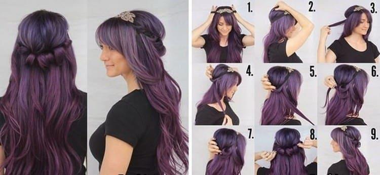 Посмотрите, как сделать прическу на выпускной на длинные волосы пошагово.