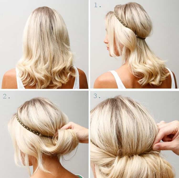 А вот еще один стильный вариант прически для волос средней длины на выпускной.