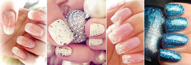 Красивые рисунки на ногтях гель-лаком можно делать даже блестками.