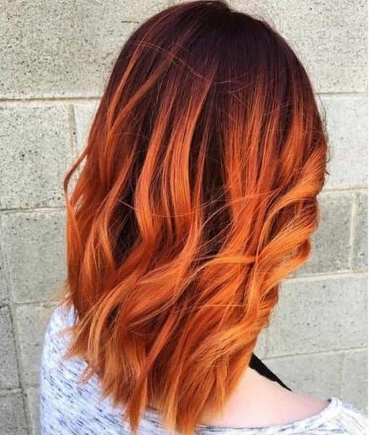 А вот фото омбре на рыже волосы средней длины.
