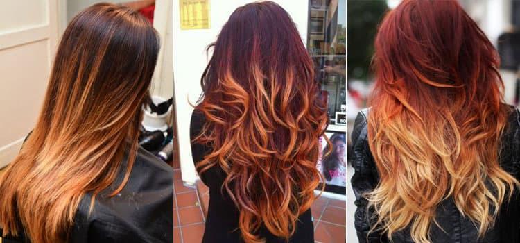 Стильное рыжее омбре на длинных волосах.