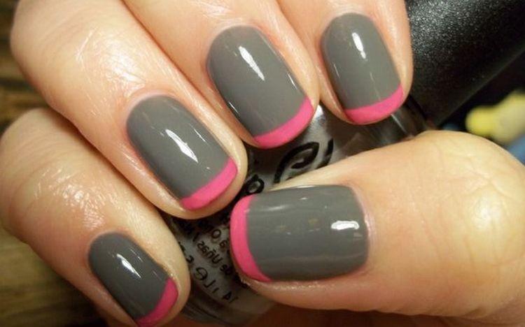 Можно сделать и серый френч с розовой улыбкой.