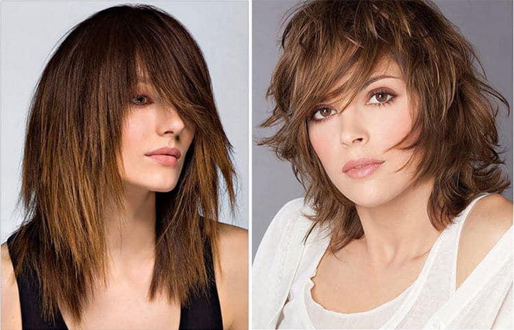 Посмотрите фото женской прически каскад на средних волосах.