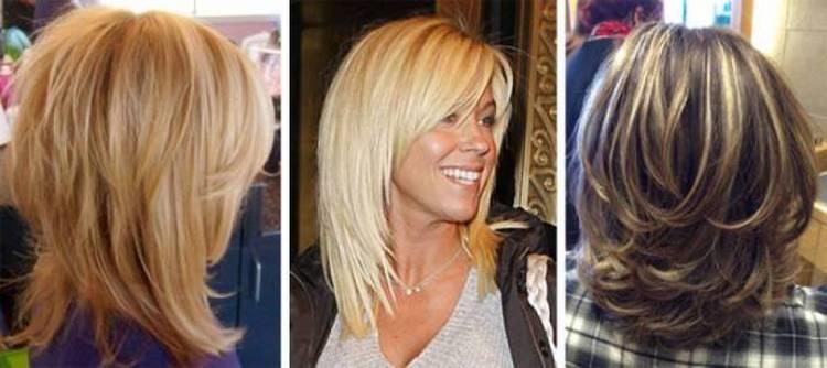 На фото разные варианты прически каскад на волосы средней длины.