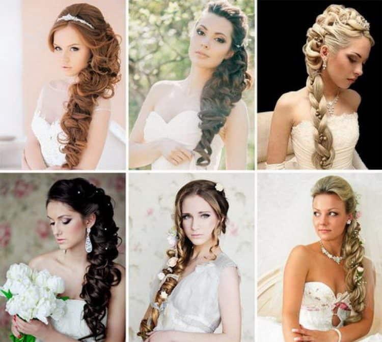 Красивыми получаются и свадебные прически на бок на длинные волосы.