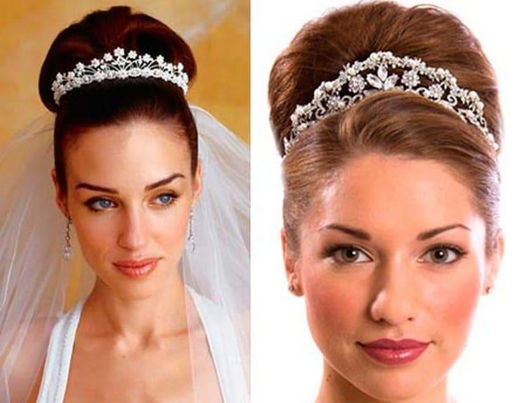 Популярностью во все времена пользуется свадебная прическа на длинные волосы с диадемой.