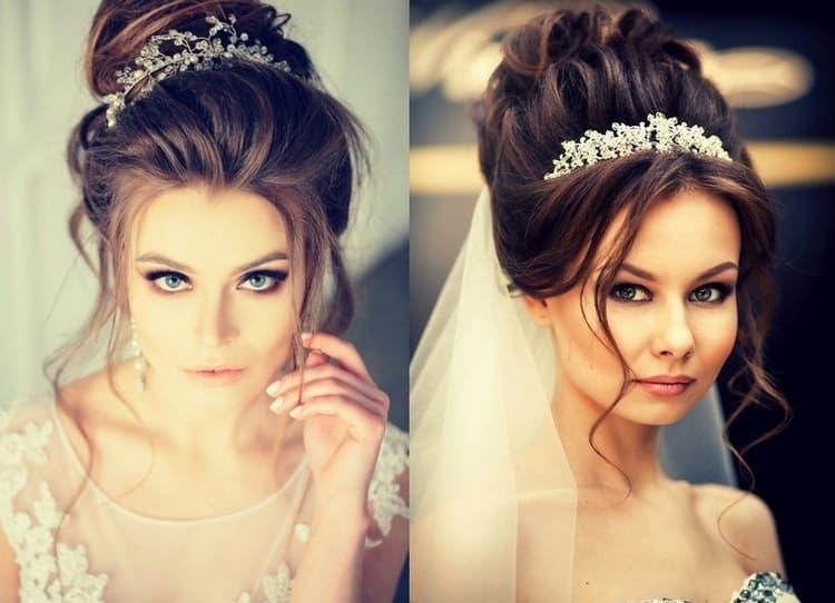 Роскошно выглядят свадебные прически на длинные волосы с короной.