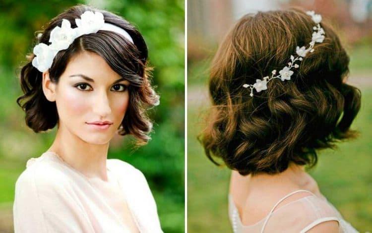 Фото стильной свадебной прически на стрижку каре.