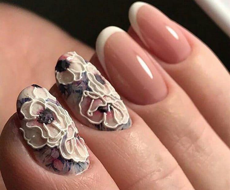 А вот оригинальное фото свадебного дизайна ногтей френч.