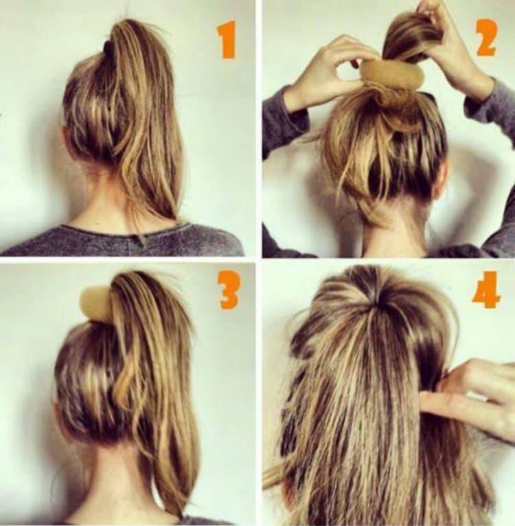 Посмотрите, как сделать прическу пучок на длинные волосы.