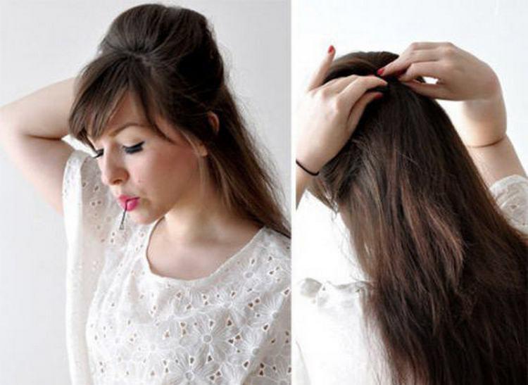 Скрепляем волосы сзади.
