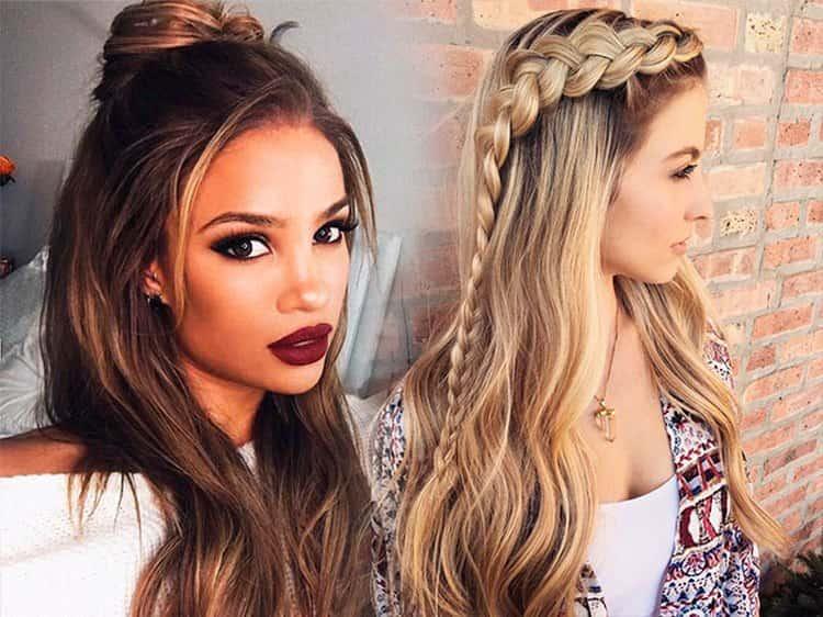 Прически на длинные распущенные волосы можно украсить несколько косичками.