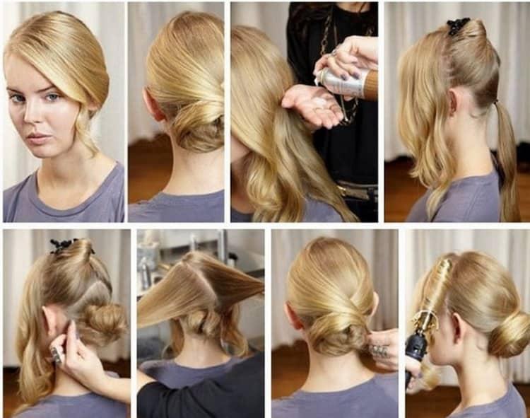 А так можно сделать вечернюю прическу на длинные волосы с челкой.