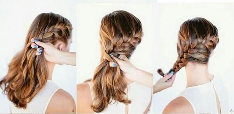 такую вечернюю прическу на длинные волосы можно сделать на бок.