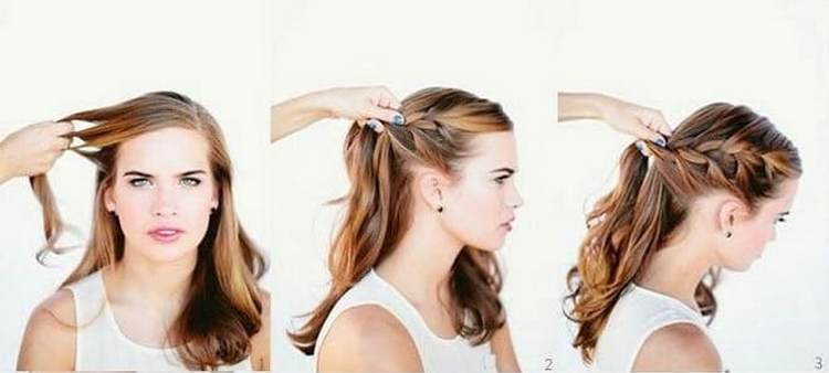 А вот вариант вечерней прически с плетением на длинные волосы.