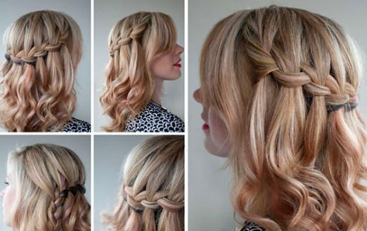 Красивый вариант вечерней прически на тонкие волосы средней длины.