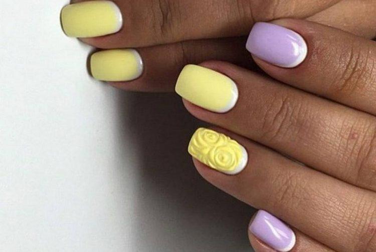 такой дизайн ногтей желтый с сиреневым наверняка многим понравится.