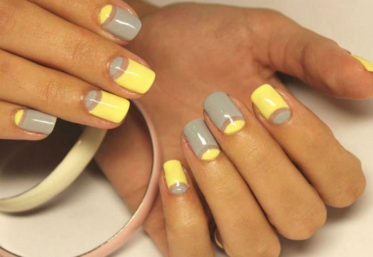 Многим также нравится дизайн желто-серых ногтей.