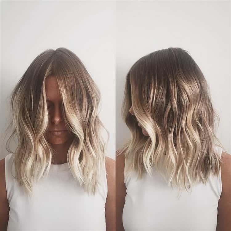 Как сделать балаяж на русые волосы средней длины: фото