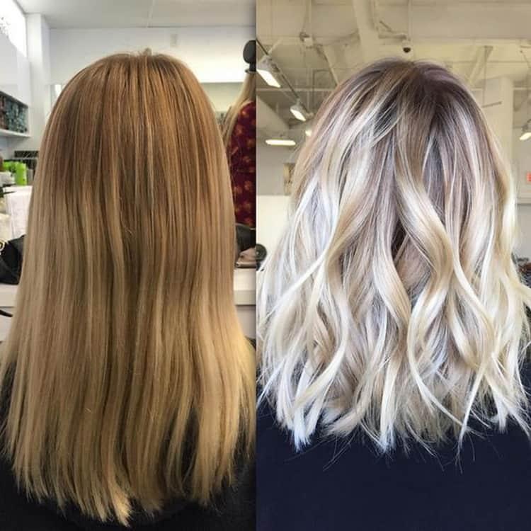 Балаяж на светлые волосы с челкой: фото