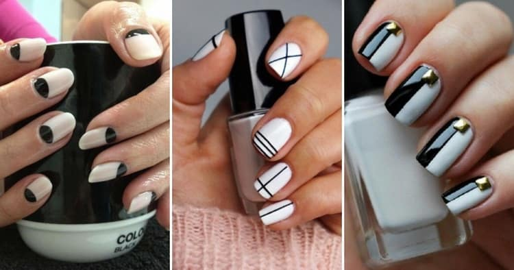 Как сделать дизайн ногтей черный лак и белый рисунок
