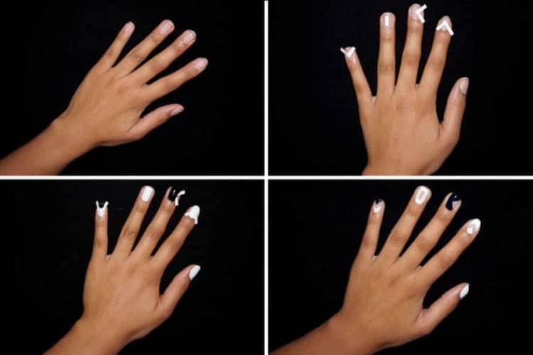 Как сделать бело черный дизайн ногтей шелаком, фото