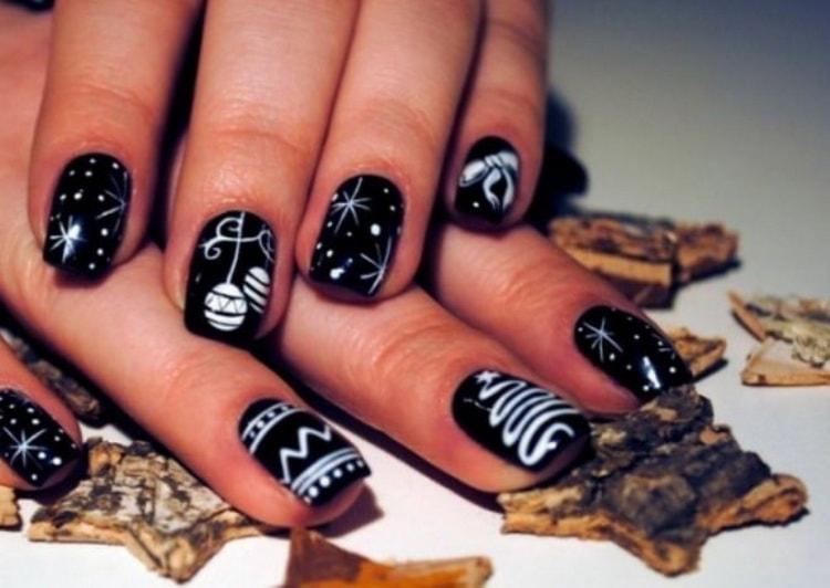 Как сделать дизайн ногтей черно белый, фото новинки