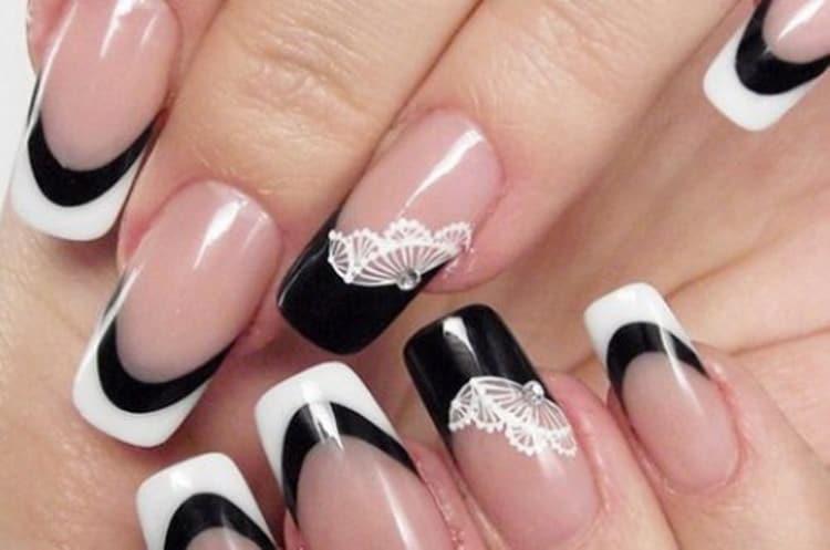Как делается черно белый дизайн ногтей