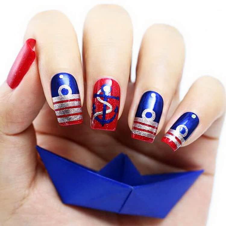 красные острые ногти, дизайн