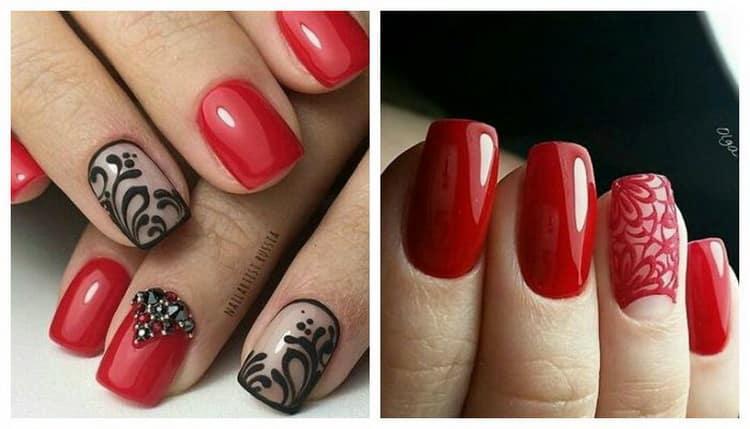 Как сделать дизайн ногтей черный с красным, фото